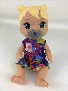 """Baby Alive Lil Sounds Interactive Blonde Hair 11"""" Doll Flower Dress Binky Hasbro"""