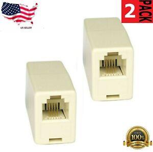 2 x 4C RJ11 Telephone Phone Jack Line Coupler Connector for Exten Cord Beige
