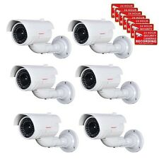6xFake Security Camera Bullet Fake Ir Led w/ Flashing Light Cctv Home Indoor ws5