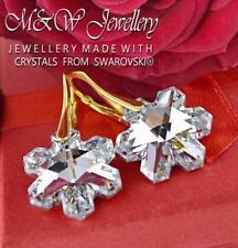 Gold Plated Silver Earrings Crystals From Swarovski® Snowflake 20mm Crystal CAL