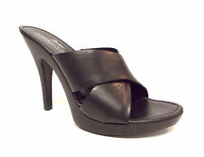 DONALD PLINER Size 8.5 GYPSY Black Leather Cross Strap Slide Sandals Shoes 8 1/2