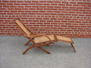 ANTIQUE SIGNED COLLIGNON FOLDING WALNUT STEAMER DECK CHAIR