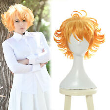 The Promised Neverland Emma Orange Ombre Short Cosplay Hair Wig Wavy Full Wigs