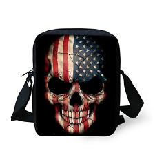 Cool US Flag Skull Shoulder Bag Womens Handbag Purse Messenger Hobo Bag Fashion