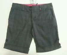 MAUI GIRL BRAND HIGH WAISTED GREY CHECK SHORTS SIZE 14 ABOVE KNEE NWT ROLL CUFF