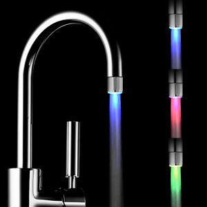 3 Color Shower Kitchen Water Tap Glow RGB LED Faucet Temperature Sensor Light