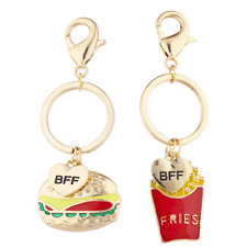 Lux Accessories Gold Tone Burgers Fries Best Friends Bff Charm Keychain Set