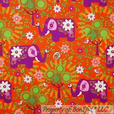 BonEful Fabric Flannel Cotton Quilt Orange Purple White Elephant Flower 99 SCRAP