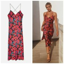 Topshop Pink and Red Floral Satin Midi Dress, UK Size 10, Petite New