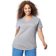 Just My Size Women's Plus-size Short Sleeve V Neck Tee Light Steel 2x