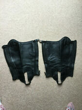 Black Leather Horse Riding Half Chaps gaiters Adult Small,  Used Condition Tuffa