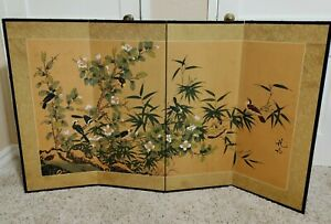 Silk Byobu Style Signed Hand Painted 4-Panel Screen Floral Birds