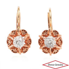 Estate Diamond 14K Yellow Gold Lovely Filigree Earrings NR