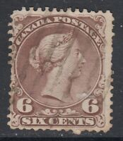 "Canada Scott #27v  6 cent brown  ""Large Queen""  F"