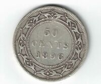 NEWFOUNDLAND 1896 SMALL W 50 CENTS QUEEN VICTORIA CANADIAN STERLING SILVER COIN