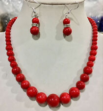 6-14mm Coral Red South Sea Shell Pearl Round Beads Necklace Earrings Set 18''