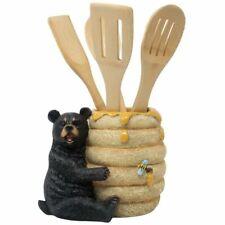 Decorative Black Bear in a Beehive Honey Pot Countertop Utensil Holder Crock