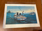 """C Booth Farcus Watercolor Oyster Boat Signed Numbered Print 11.75"""" x 16"""""""