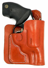 BROWN LEATHER CONCEALMENT BACK POCKET WALLET HOLSTER - CHARTER ARMS MAG PUG 357