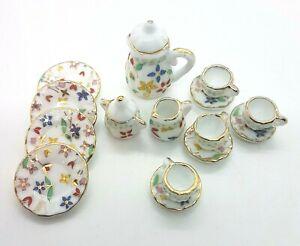 Doll House Accessories 1:12th Miniature - (Set 9) 17 piece Ceramic Dinner Set