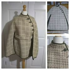 Vintage Welsh Tapestry Cape Green and  Cream Wool with Belt & Pockets M 10 -14