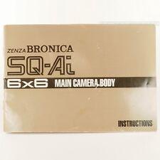 Used Zenza Bronica SQ-Ai Instruction Manual Book Main Camera Body Medium Format