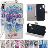 For Xiaomi Redmi Note 7 S2 6Painted Leather Flip Kickstand Wallet TPU Case Cover