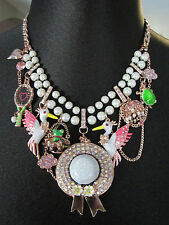 NWT  Betsey Johnson Walk in The Park Pink Bird Hat Pearl turtle frog necklace