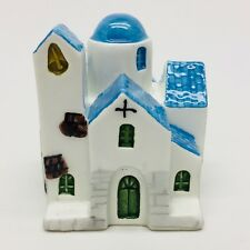 Greek Ceramic Pottery Small Church Figurine White Blue Roofs Hand Made Ceramik
