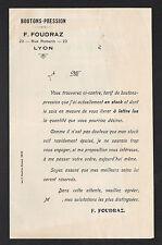 "LYON (69) USINE de BOUTONS & PRESSIONS ""F. FOUDRAZ"" Tract de TARIFICATIONS"