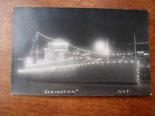 Lot58g CORONATION 1937 Model SHIP illuminated Gunship Postcard