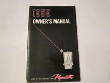 1959 PLYMOUTH AUTOMOBILE OWNER'S MANUAL - SEE PICS