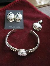 NAVAJO Randall R TOM Sterling & WHITE BUFFALO TURQUOISE Earrings, Cuff & Pendant