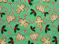 FAT QUARTER  CHRISTMAS GINGERBREAD MEN  CHRISTMAS QUILTING 100% COTTON FABRIC FQ