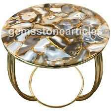 "24"" Round Agate Marble Stone Top Console Table Living Room Decor Art"