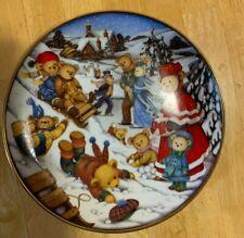 "Franklin Mint Teddy Bear ""Winter Frolic"" collectible plate by Carol Lawson"