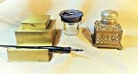 Vintage Inkwell Collection Starter Set - 3 pieces Bakelite Brass Writing Tools
