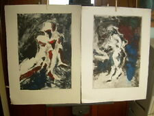 2 NICK MULLANEY 1994 Monotype SIGNED Nude Man Woman Pair OOAK Prints black red