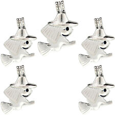 K914 (5 Pack) Silver Witch Broom Beads Cage Oil Diffuser Pearl Locket Pendant