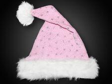 Gorro de Navidad, tejido terciopelo, felpa borde piel estrellas brillo, Rosa