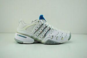 Women Adidas Barricade V Court Tennis Shoes Size 9.5 White Grey Silver 047404