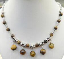 Women Tibetan Silver Tiger's Eye Pendant Necklace Ladies Jewellery Gift
