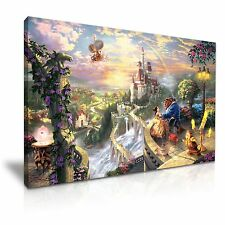 DISNEY bellezza e la bestia cartoni animati Kids CANVAS WALL ART PICTURE PRINT 76x50cm