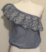 American Rag Crop Top Juniors Small Blue Embroidered Flowers One Shoulder Shirt