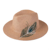 Summer Unisex Panama Straw Sun Hat With Embroider Feather FHT3279