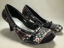 Womens Nadara Black White Red Patchwork Mary Janes High Kitten Heel Shoes 6.5 7