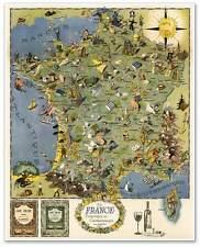 BIG French Cooking Gourmet MAP of France for the Gastronomic Tourist circa 1948