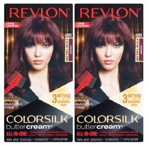 (Pack of 2) Revlon Colorsilk Buttercream Hair Dye - Vivid Burgundy - 48BV