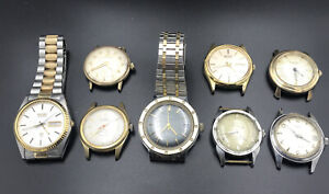 Lot of 8 Vtg Bulova Elgin Wittnauer Timex Seiko Welsbro Mechanical Men's Watches