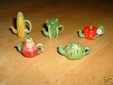Tiny miniature fruit/vegetable teapot~CORN~ARTICHOKE~LETTUCE~FAIRY GARDEN~